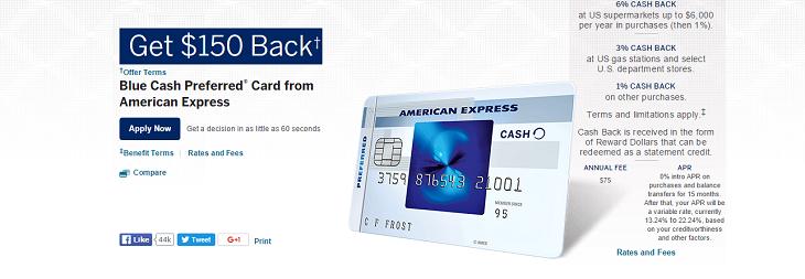 Blue Cash Preferred Cash Bonus