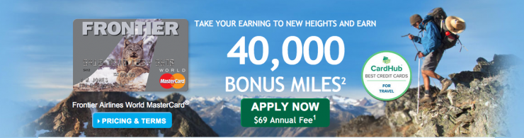 Frontier Airlines Credit Card from Bank of America 40,000 bonus promotion