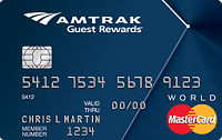 Amtrak Guest Rewards World MasterCard Credit Card 20,000 Bonus Points