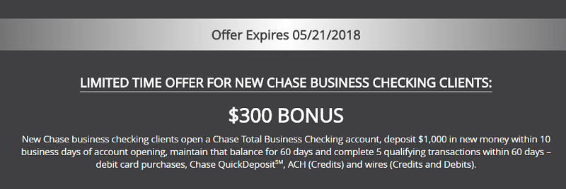 Chase Business $300 Bonus Terms and Conditions