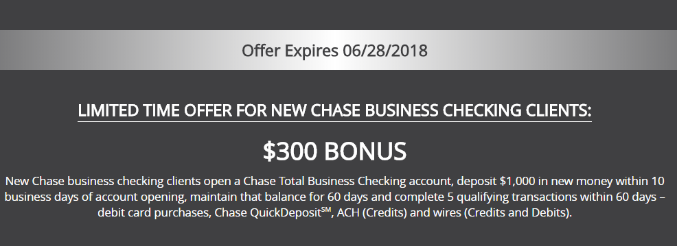 Chase Total $300 Business Checking Bonus