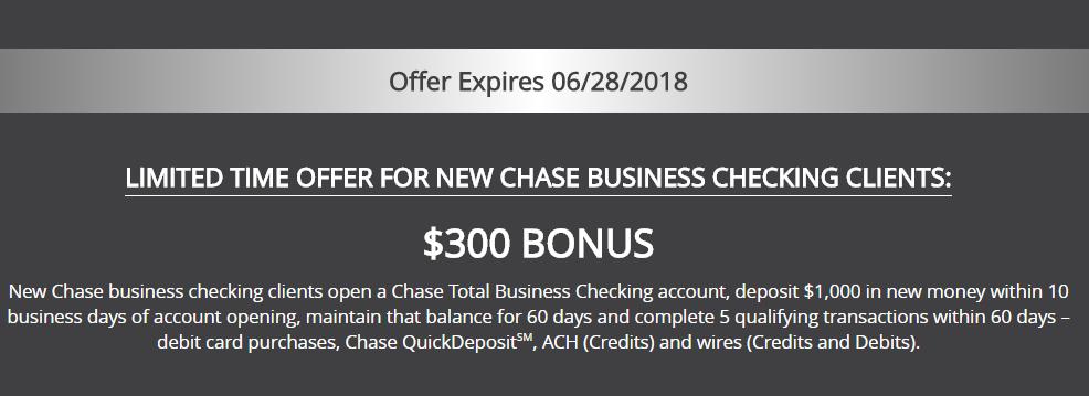Chase Total $300 Business Checking Bonus