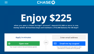 Chase Coupon $225 Savings Bonus (Working Link & Available Online)