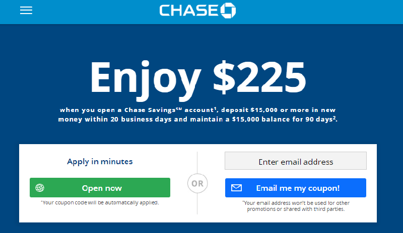Chase $225 Savings Bonus
